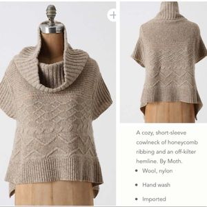 Anthropologie MOTH Sweet Cables Swing Cowl Sweater
